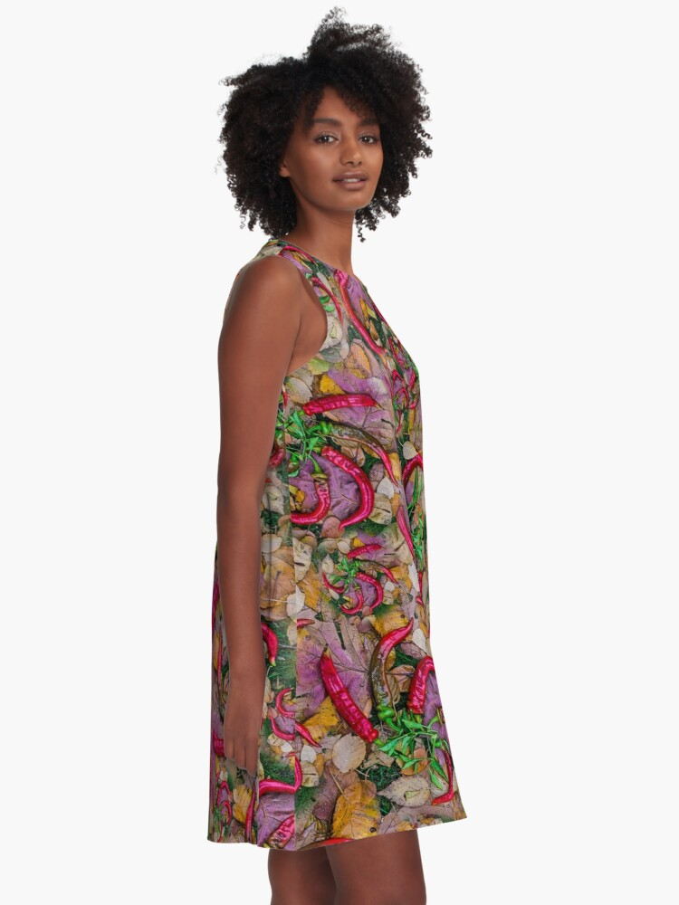 Alternate view of HOT SUMMER PEPPERS ON AUTUMN LEAVES A-Line Dress