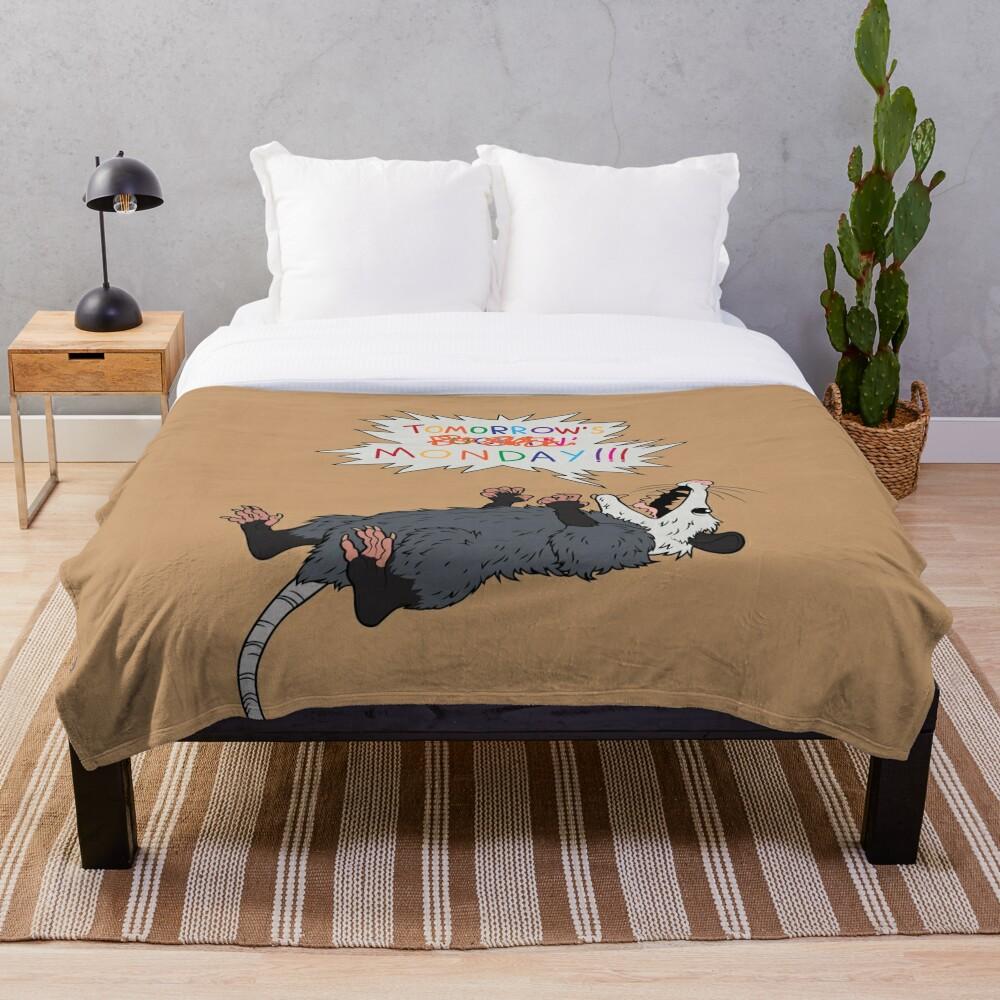 Pessimist Opossum Throw Blanket