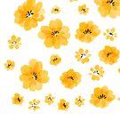 Gelbes Wasser-Farbblumenmuster von arareart