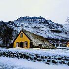 Hofskirkja Turf Church in December by opheliaautumn