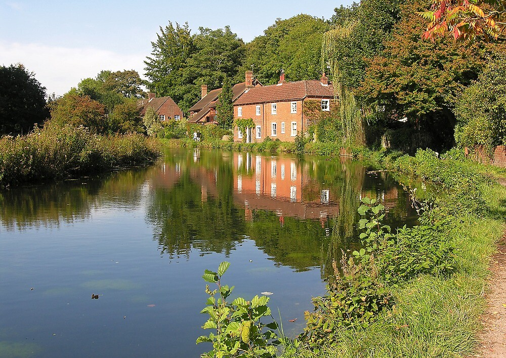 Cottages reflected in the Itchen Navigation, Winchester, southern England by Philip Mitchell