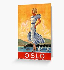 Oslo Norway Vintage Travel Poster Restored Greeting Card