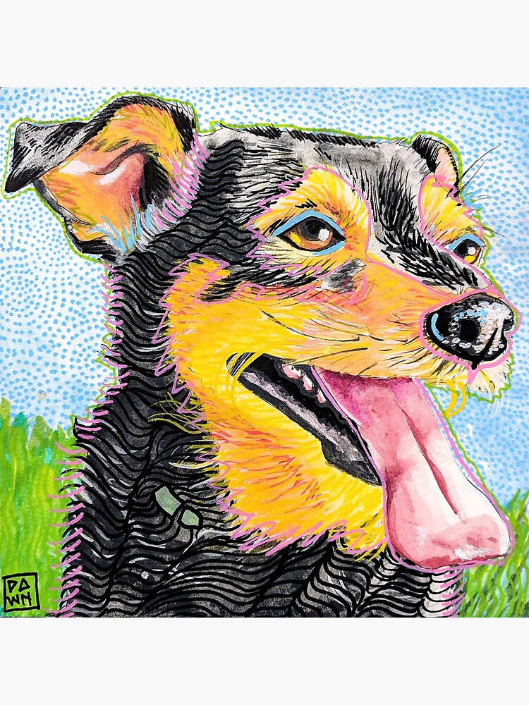Pop Art Dog and Grass Ink Painting in Intense Colors and Patterns by paintedbydawn