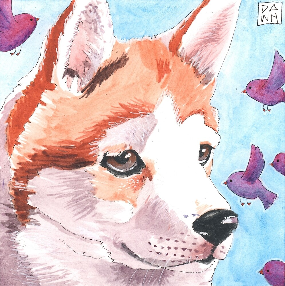 """Josie and the Birds"" Dog Ink Painting by Dawn Pedersen"