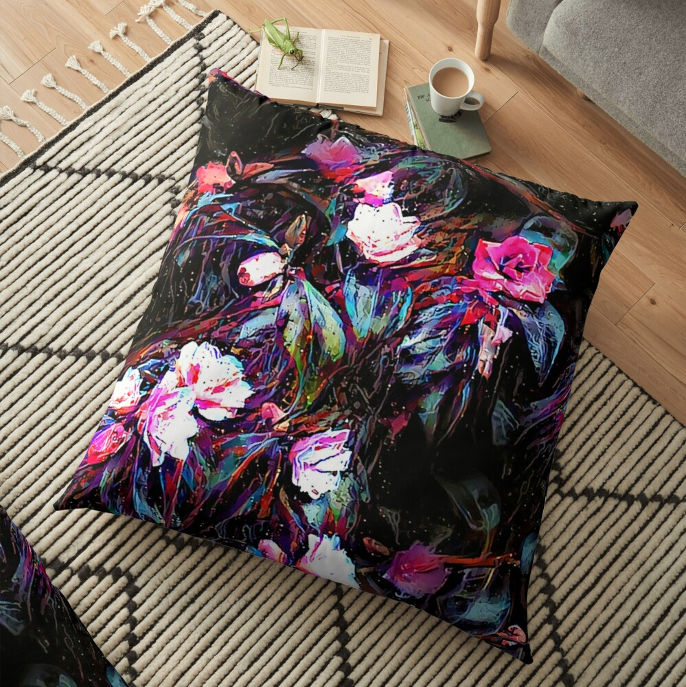 Roses of a Cyberdelic Night Floor Pillow