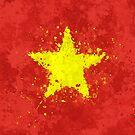 «Bandera de Vietnam - Grunge salpicado desordenado» de Garyck Arntzen