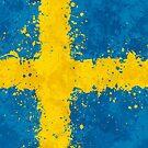 «Bandera de Suecia Acción Pintura - Grunge Desordenado» de Garyck Arntzen