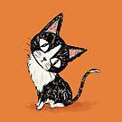 Black cat in thought by Toru Sanogawa
