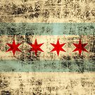 Vintage Grunge Flag of Chicago by iEric