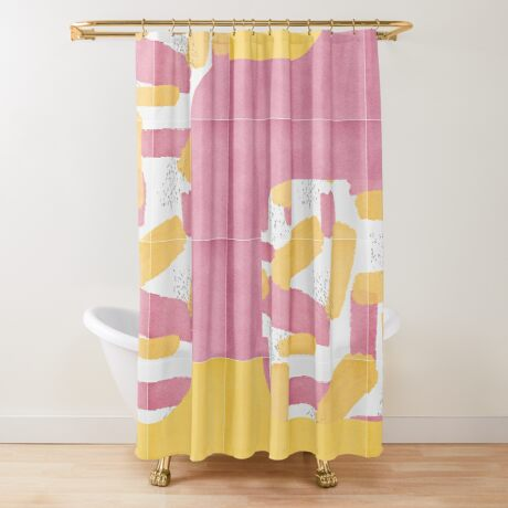 Bold Painted Tiles 01 #redbubble #midmod Shower Curtain