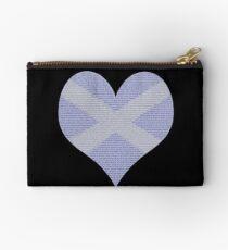 Scots Words in a Saltire in a Heart Zipper Pouch