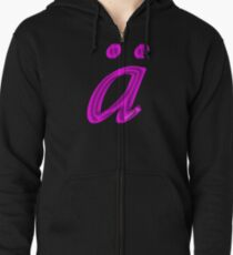 German 'a' with umlaut - purple satin colour Zipped Hoodie