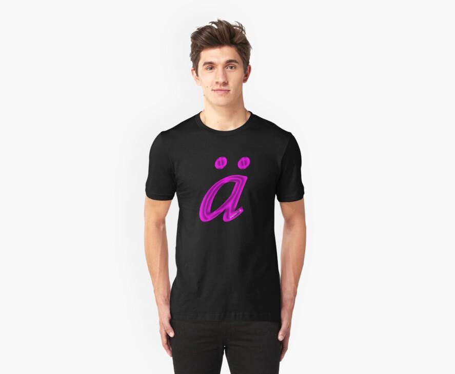 German 'a' with umlaut - purple satin colour by emilykperkin