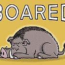 Boared - Funny Cartoon Art Illustration by carlbatterbee