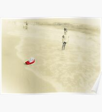The boy on the beach and Red boat. Poster