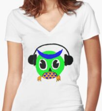 Owl Tunes Women's Fitted V-Neck T-Shirt