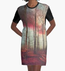 Ruby Red Evening Graphic T-Shirt Dress