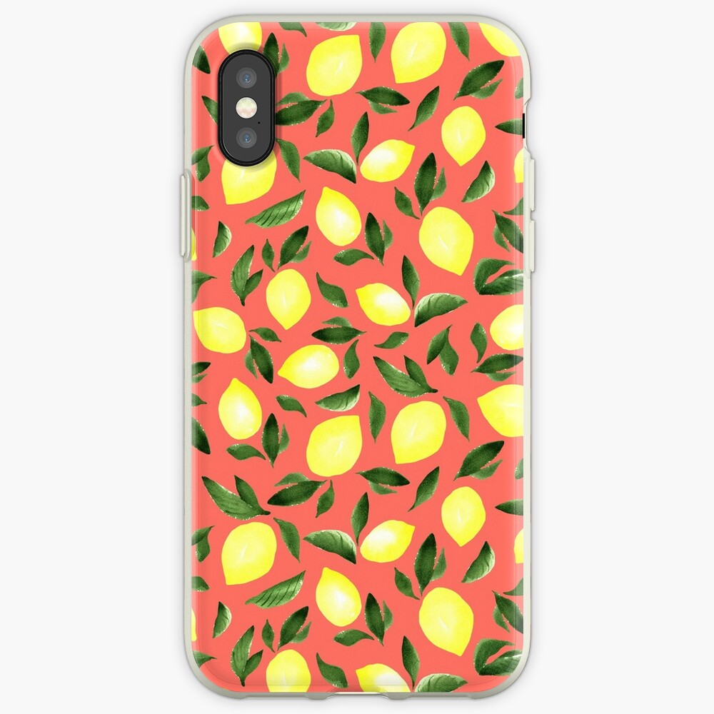 Lemons. Red pattern iPhone Case & Cover