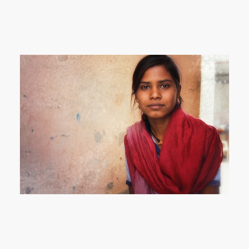 the girl in the red shawl  Photographic Print