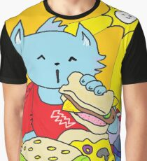 Fast Food Cat Graphic T-Shirt