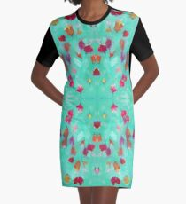 Abstract Turquoise Floral Graphic T-Shirt Dress