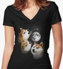 Three Doge Moon Women's Fitted V-Neck T-Shirt