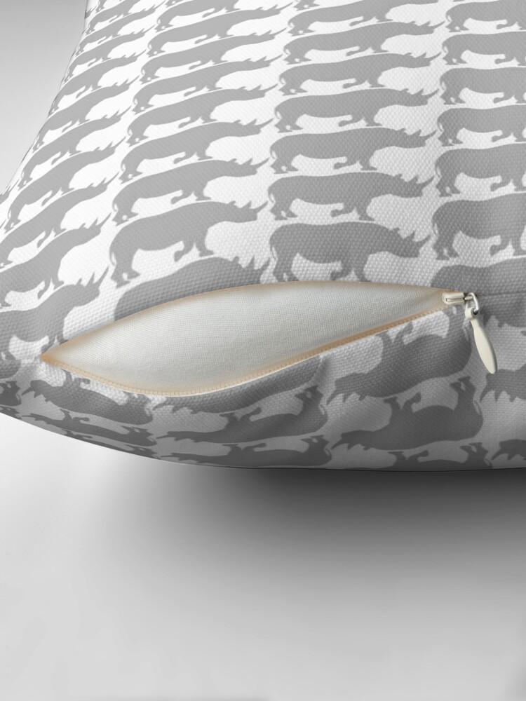 Alternate view of rhino pattern Throw Pillow