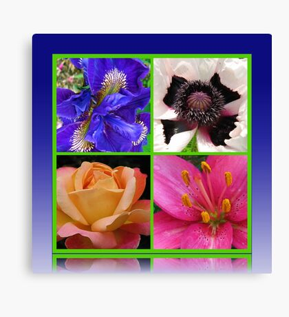 Peace Rose, Ruffled Poppy, Iris and Lily Collage Leinwanddruck