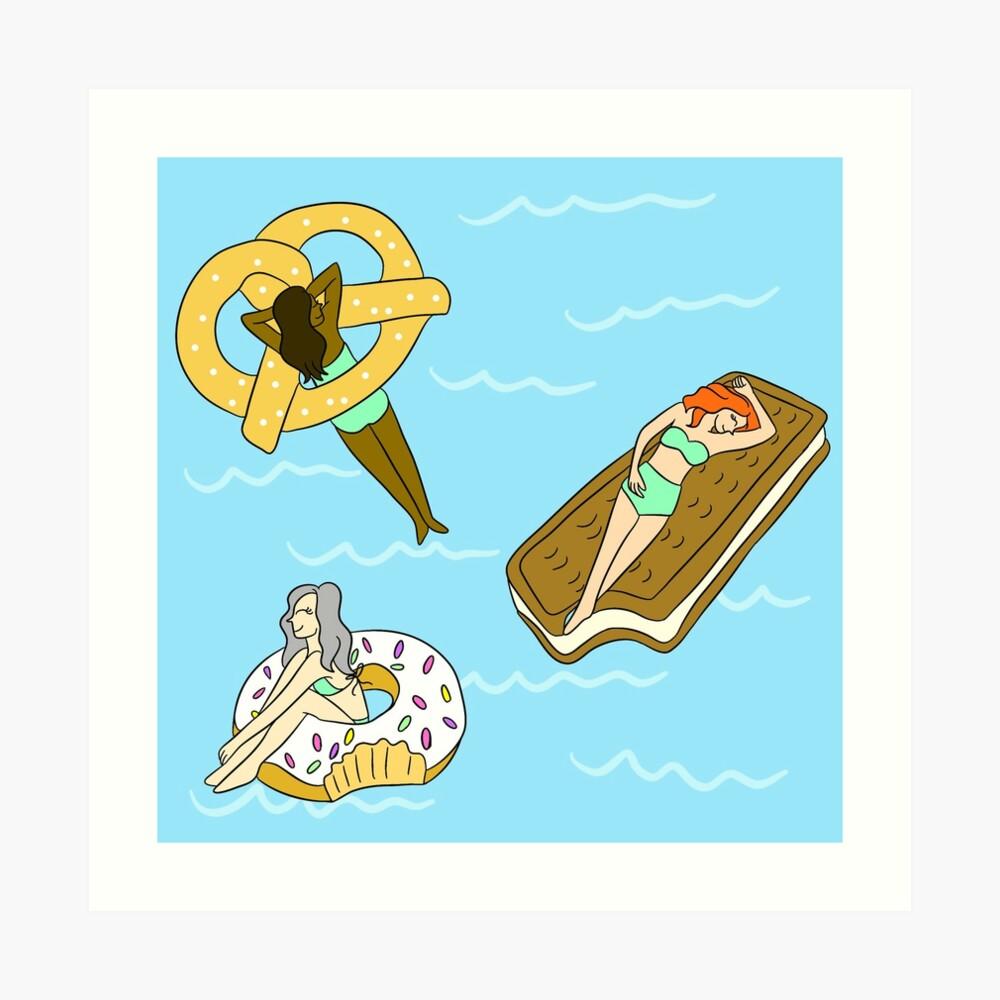 Foodie Pool Party Art Print