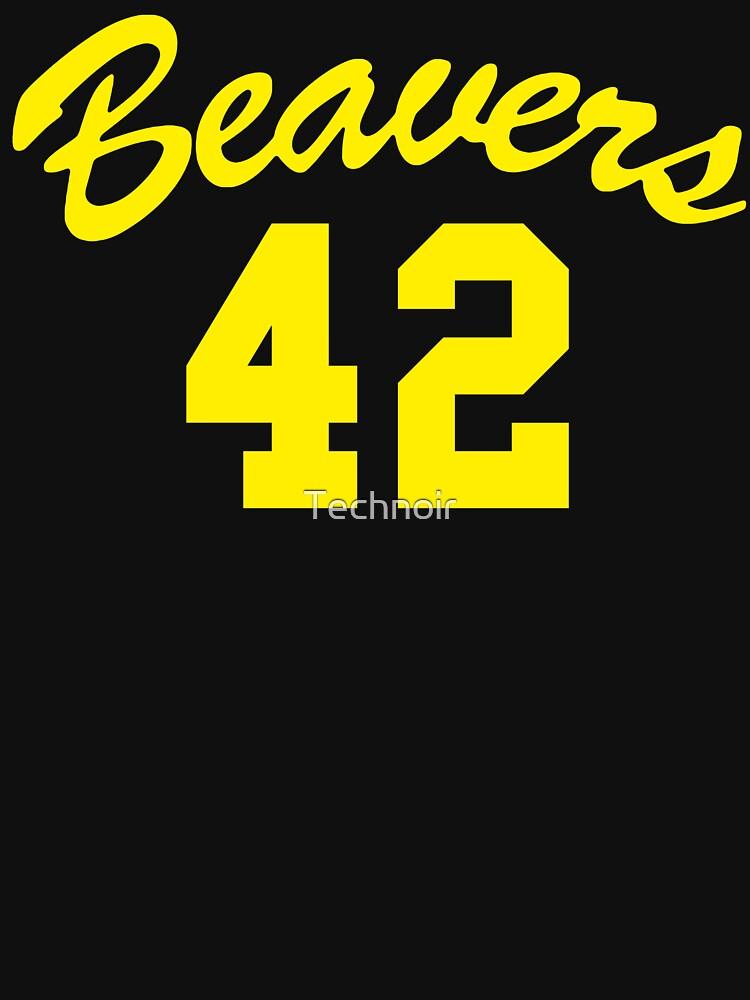 Beavers 42 Yellow Text T-shirt