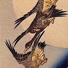 Flug der Wildgänse vor dem Mond von Utagawa Hiroshige (Reproduktion) von RozAbellera