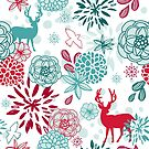 Christmas Floral Deer Holiday  by scooterbaby