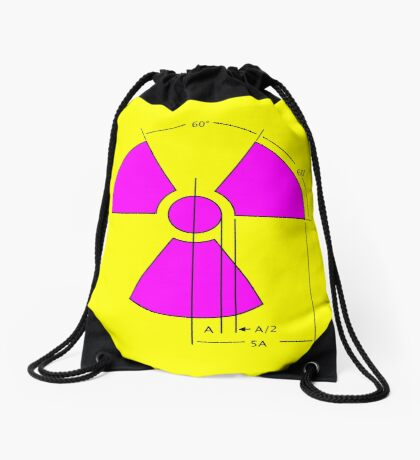 Warning Radiation Sign Template Drawstring Bag
