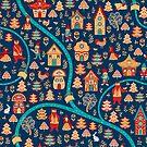 Häuser, Wald, Zwerge, Bären, Füchse, Hasen, Fluss. Folklorestil. von Skaska