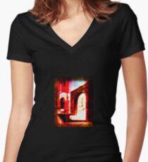 demonic doorway Women's Fitted V-Neck T-Shirt