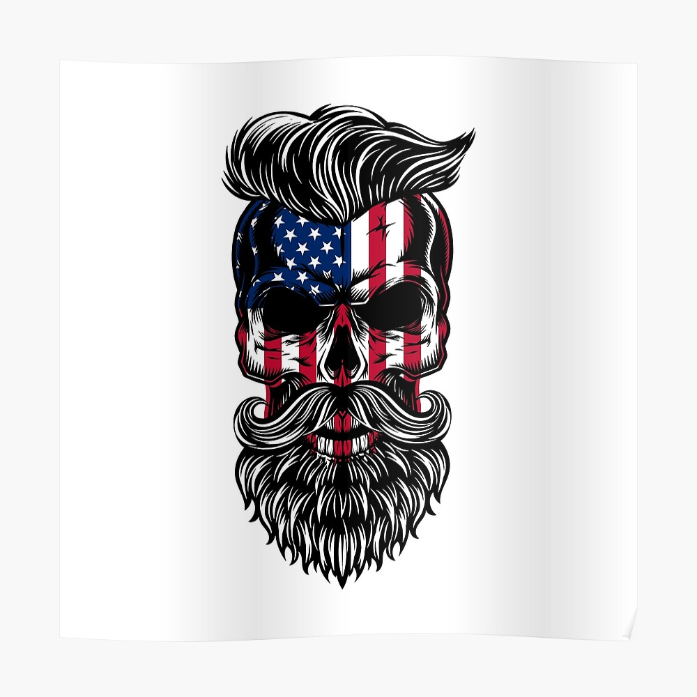 Bandera de Estados Unidos cráneo de hipster americano Póster