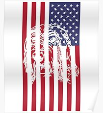 Póster Wirehaired Pointing Griffon American flag