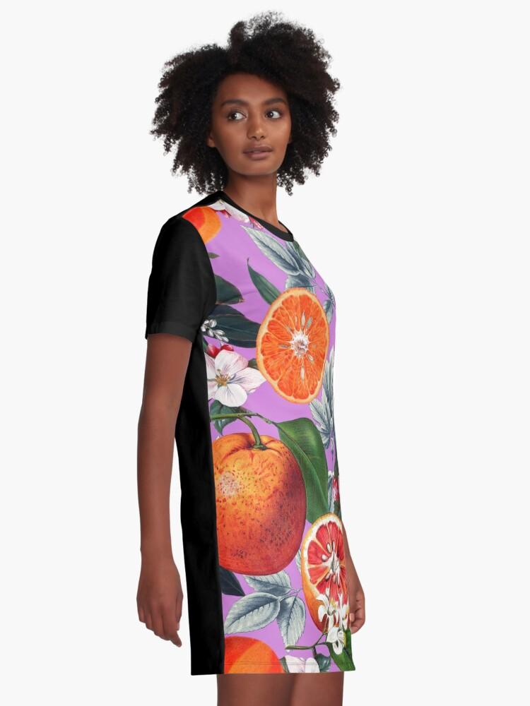 Alternate view of Vintage Fruit Pattern X Graphic T-Shirt Dress