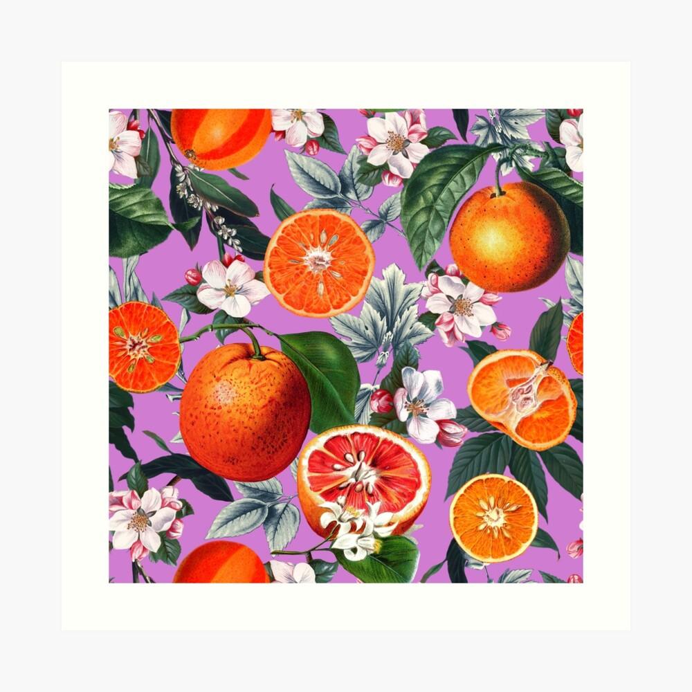 Weinlese-Frucht-Muster X Kunstdruck
