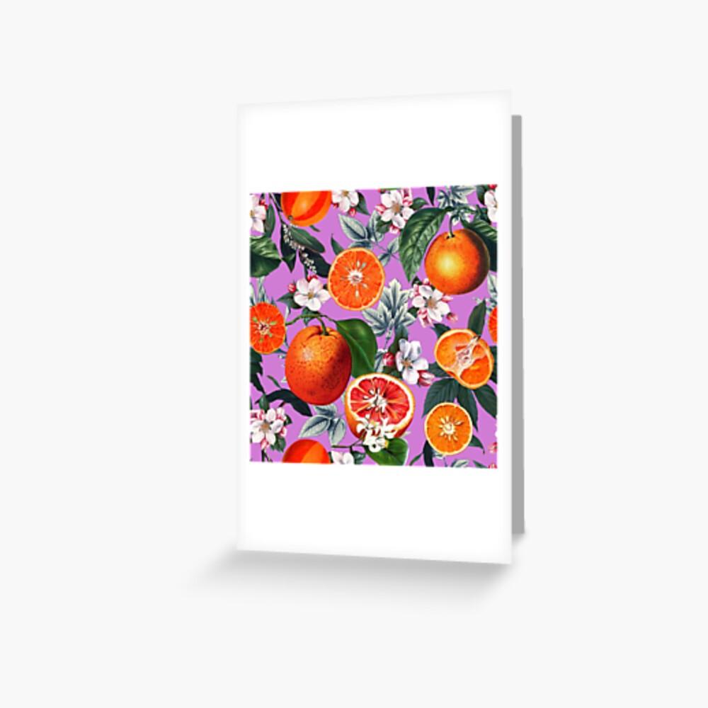 Weinlese-Frucht-Muster X Grußkarte