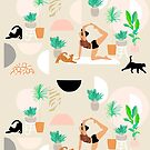 Mid Century Modern Yoga pattern with cats and plants by Dominiquevari