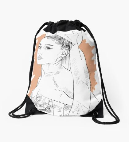 Bow tie singer drawing Drawstring Bag