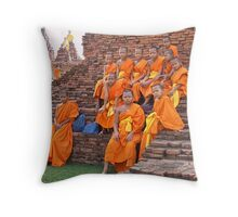 Novice Monks Throw Pillow