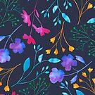 «Patrón de colores de ramita floral Fluro azul marino» de Dizzywonders