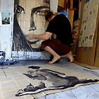 working on ink drawing by Loui  Jover