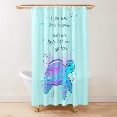 """""""I don't know where I'm headed"""" Optimistic Sea Turtle Shower Curtain"""