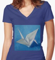 Origami Crane Women's Fitted V-Neck T-Shirt