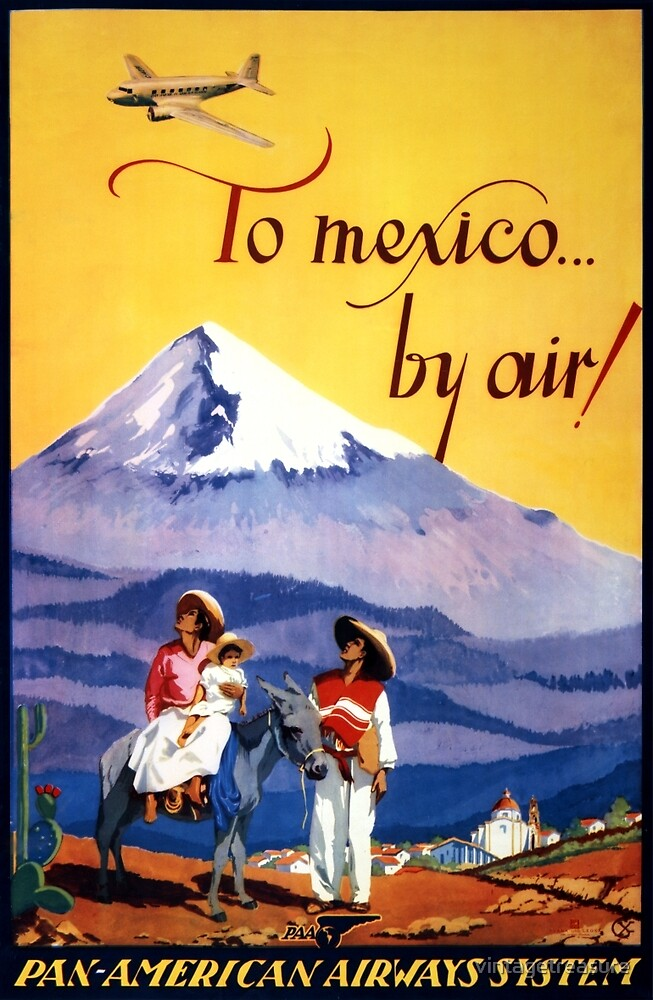 Mexico Vintage Travel Poster Restored by vintagetreasure