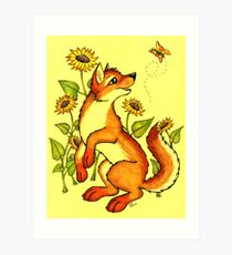 Red Wolf in Summer - Sunflowers and Butterflies Art Print
