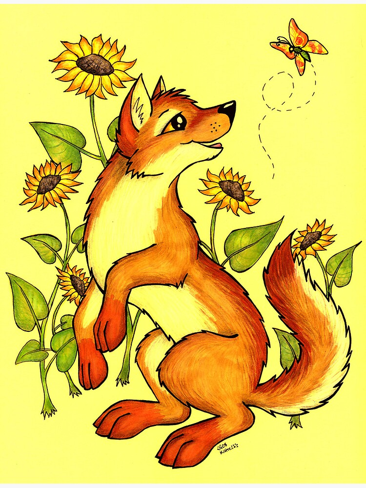 Red Wolf in Summer - Sunflowers and Butterflies by CGafford